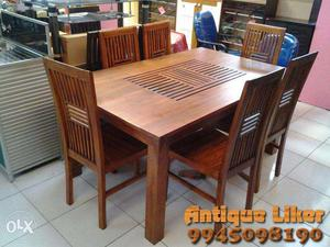 Pure Teak wood 6 chair dining table