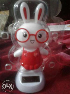 White And Red Rabbit Digital Alarm Clock