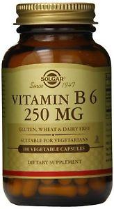 Solgar Vitamin B6 Vegetable Capsules, 250 mg, 100 ct
