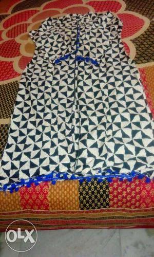 New black kurta for women with blue strips