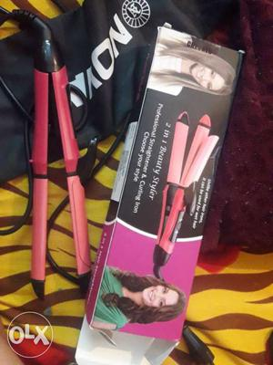 Pink Hair Curler Iron and straightener 2 in 1