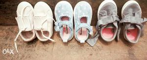 3 pairs of baby girl toddler shoes its for a 1-2