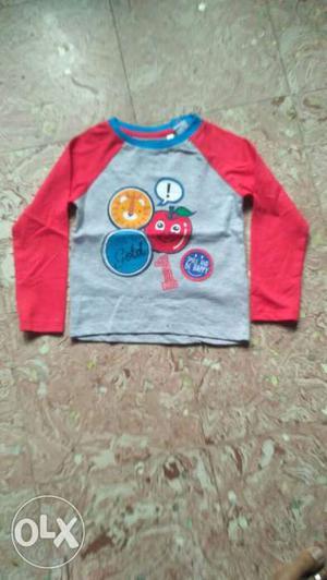 Gray And Red Raglan Shirt