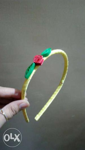 Home made durable quilling hair bend Lemon yellow colour