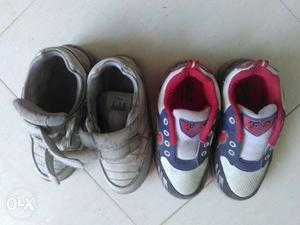 Two Pairs Of White And white sports shoes