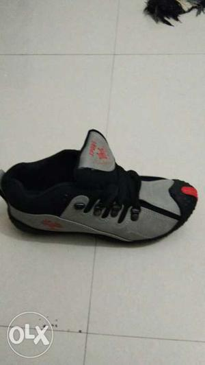 Black And Gray Low-top Athletic Shoe
