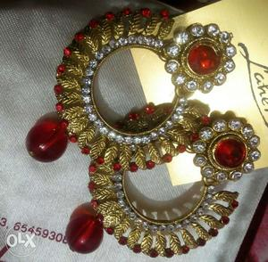 Latest collection golden red earings from fashion