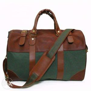 Military green leather master duffel bag