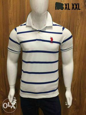 White And Blue Striped USPA Polo Shirt