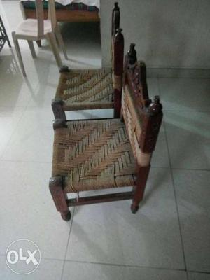Saharanpuri carved wooden low chairs coir rope
