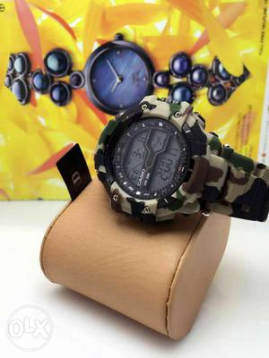 Round Black Digital Watch With Sports Band