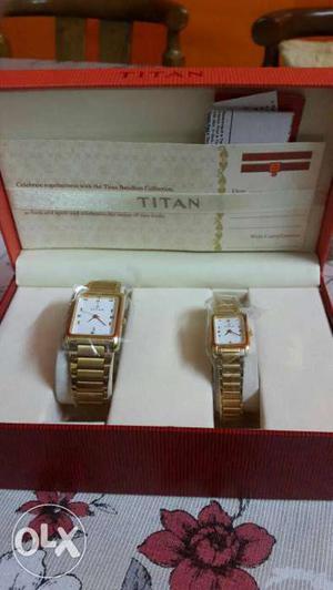 Brand new Two Rectangular Gold Titan Analog Watches...