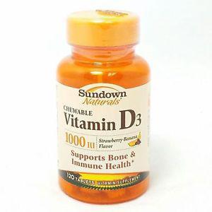 Sundown Naturals Vitamin D IU, 120 Chewable Tabs