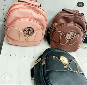 Three Assorted Leather Backpacks Any1