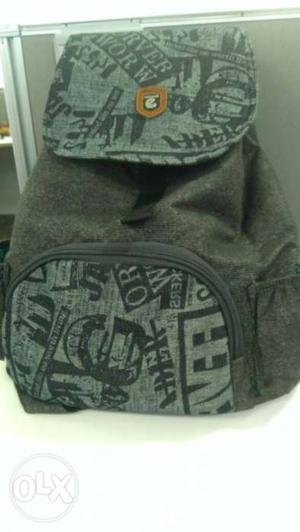 Trendy Black And Gray Backpack.