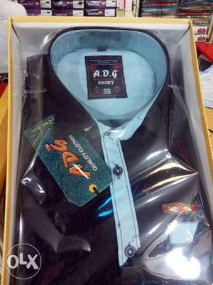 Black And Teal Dress Shirt In Box
