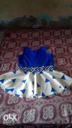 Blue And White Sleeveless Flare Dress
