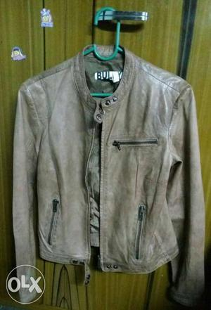 Brown Pure Leather Zip-up unused Jacket for both men and
