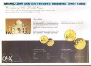 NUMISMATIC COIN OF: Taj Mahal Wonders of World Gold 10gm