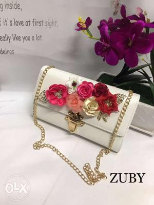 White, Red, And Orange Flower Embossed Zuby Shoulder Bag