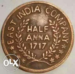 year Half anna coin issued east india company old