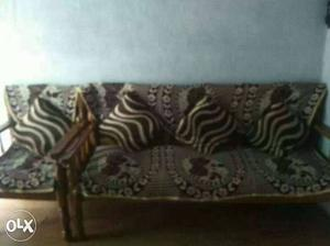 Brown Wood-framed White And Brown Cushion Sofa