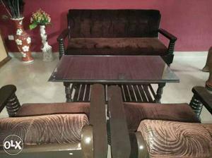 Teak wood sofa set and teak wood center table