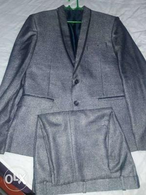 Gray Shawl Lapel Suit Jacket With Pants Set