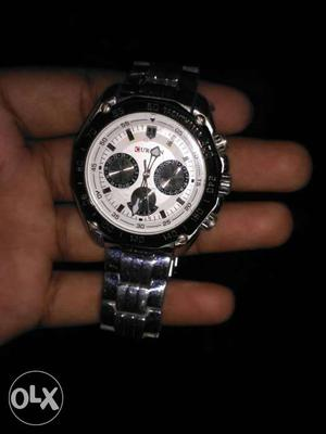 Round White Chronograph Watch With Silver Link Band