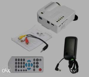 White Projector Camera With Remote Controller And Adapter