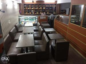11 single sofa, 4 double sofa & 4 big table all in