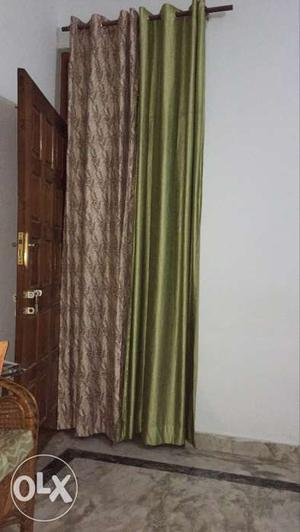 9 feet Brown And Green Curtains (set of 7 curtains)