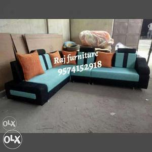 Black And Teal Sectional Couch
