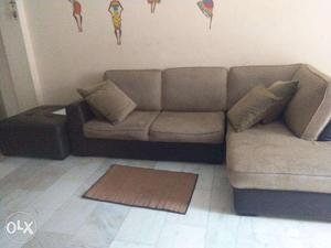 Brown leather sofa with Jute top, leather side