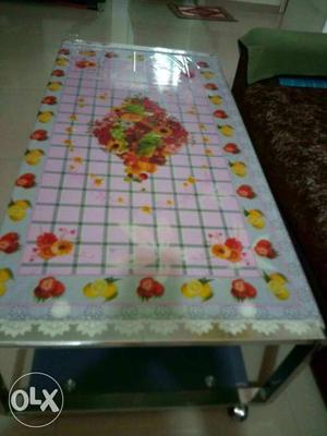 Rectangular White Floral Table