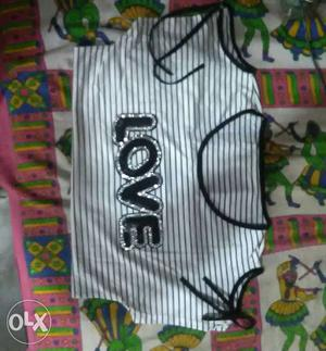 White And Black Love Printed Scoop-neck Shirt shoulder cut..