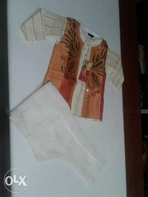 White And Brown Floral Dress Shirt And White Pants