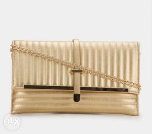 Allensolly beautiful golden leather clutch/ sling