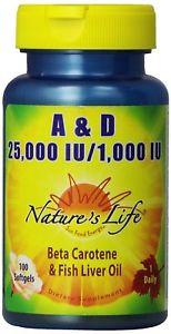 Nature's Life A and D,  IU/ IU, Softgels, 100 ct