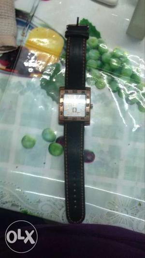 Square White Analog Watch With Black Leather Strap