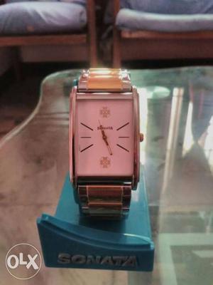 Square White Sonata Analog Watch With 2-tone Bracelet not