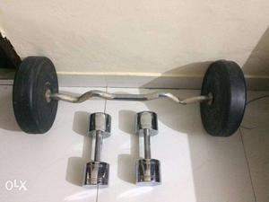Stainless dumbbells 10kg *2 20kg and curl rod with 20kg