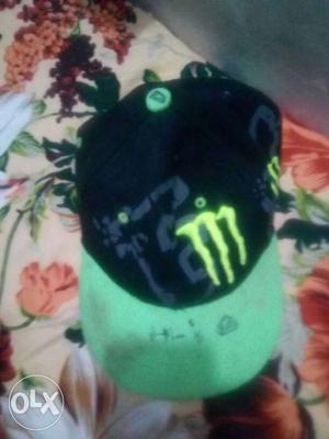 Black And Green Monster Energy Embroider Fitted Cap