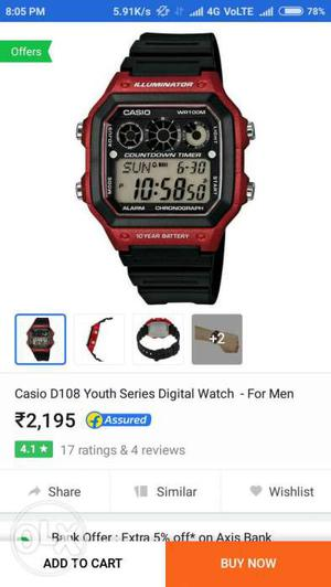 Casio watch in showroom condition. with bill box