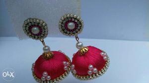 Pair Of Red Thread Jhumka Earrings