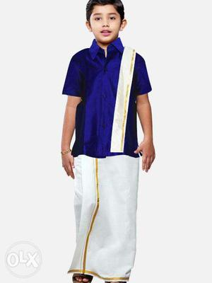 Manufacturing Traditional Silk Shirts For Kids +velcro Dhoti