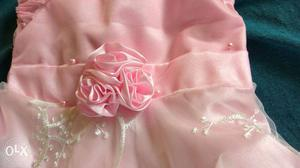 Pink Satin Gown With Flower Accent, for 1 year old baby girl