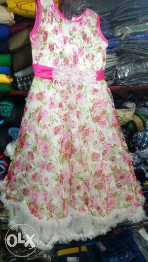 White And Pink Floral Sleeveless Natural-waist Dress