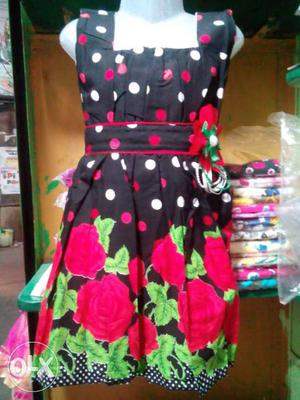 Women's Black,white And Pink Floral Sleeveless Dress