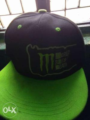 Black And Green Monster Energy Flat Brim Cap